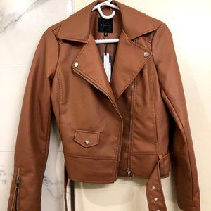 Tan faux leather jacket from Dynamite
